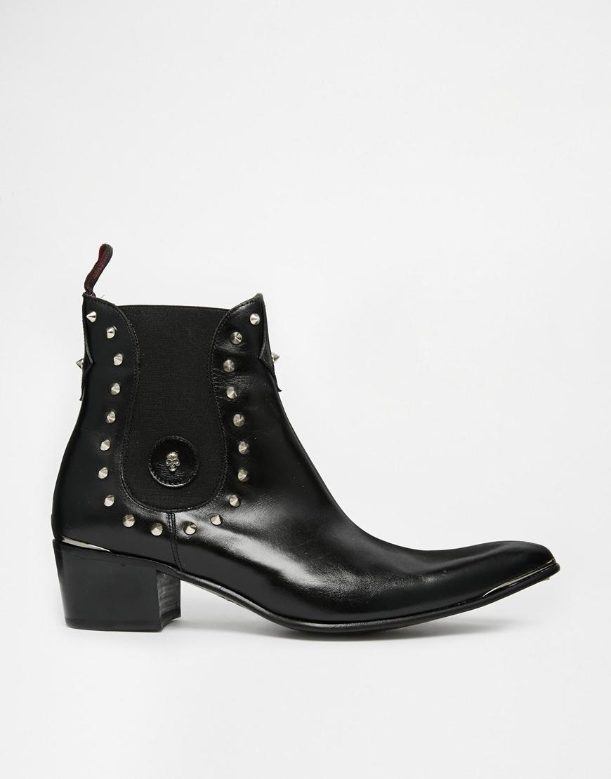 031d82adb5b Jeffery West Black Studded Chelsea Boots for men