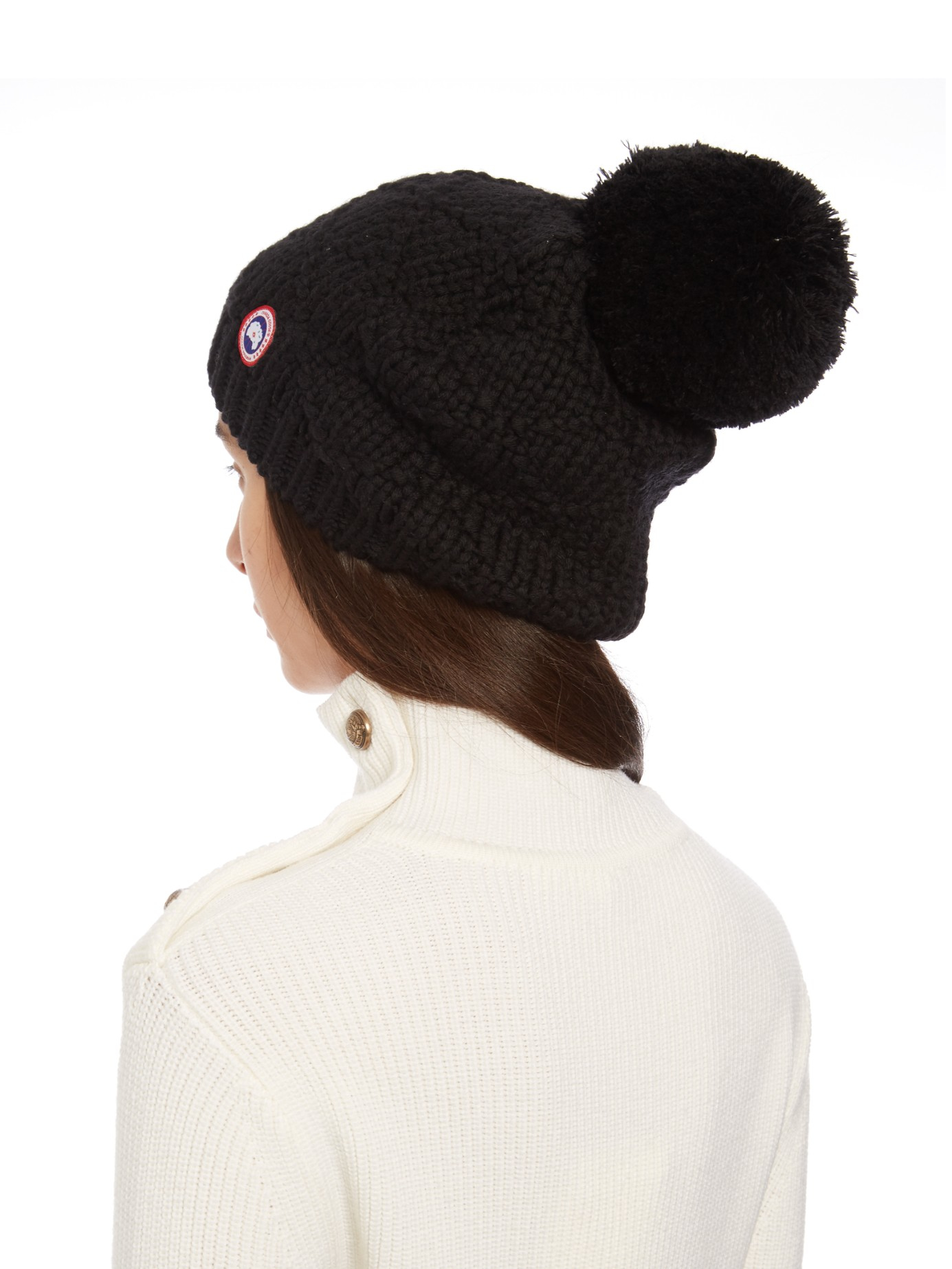 d0bf67a35a3 Canada Goose Pompom Cable Knit Beanie Hat in Black - Lyst