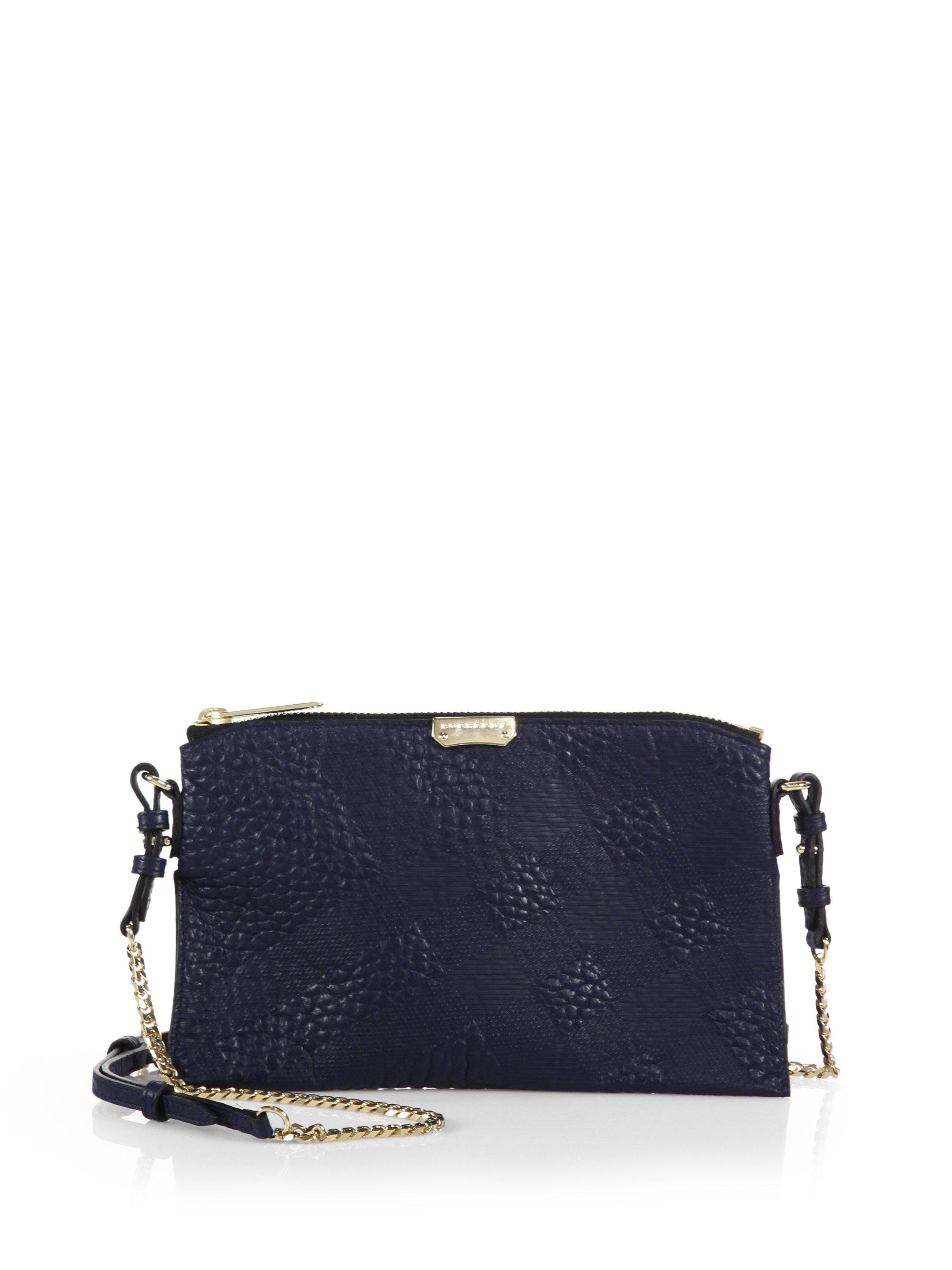 Lyst - Burberry Peyton Plaid-Embossed Crossbody Bag in Blue 2f948ee79b