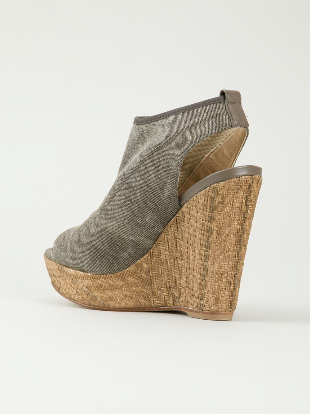 stuart weitzman wedge sandals in gray grey lyst