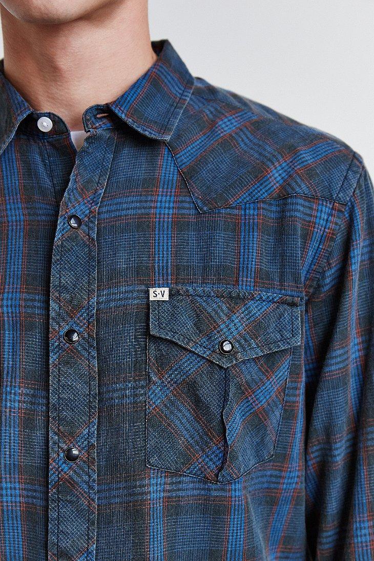 Lyst Salt Valley Plaid Western Button Down Shirt In Blue