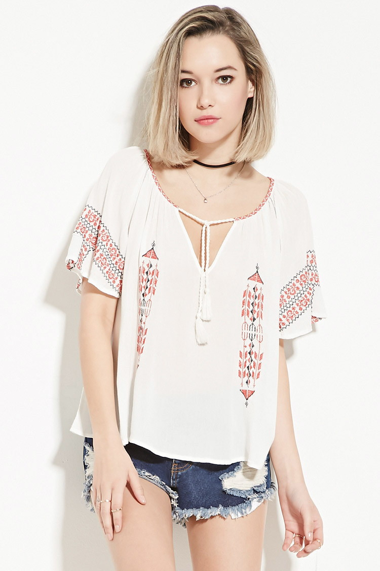 cd77c06458ca71 Lyst - Forever 21 Embroidered Peasant Top in White