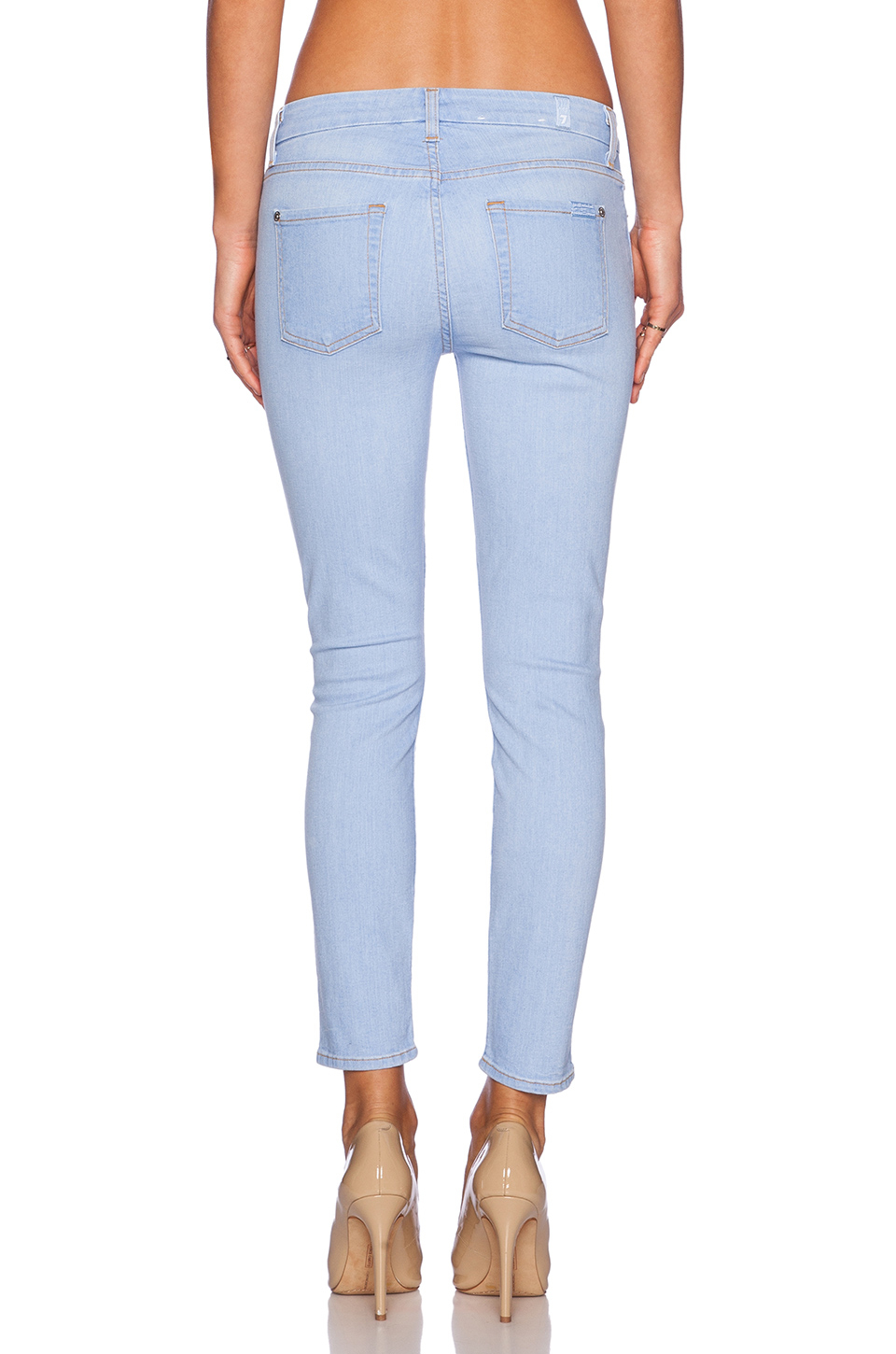 lyst 7 for all mankind skinny cropped mid rise stretch denim jeans in blue. Black Bedroom Furniture Sets. Home Design Ideas