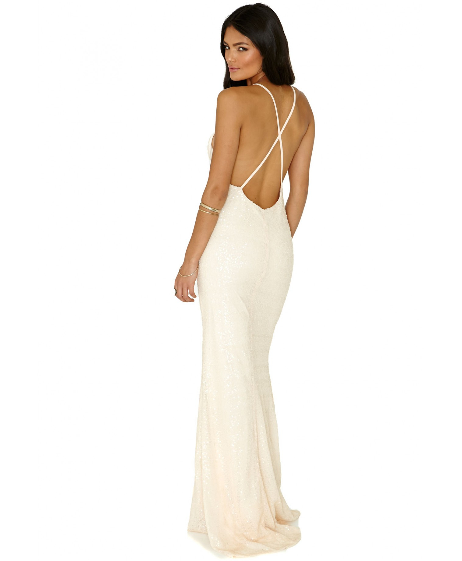 Missguided Skaila Sequin Maxi Dress In Nude in Natural