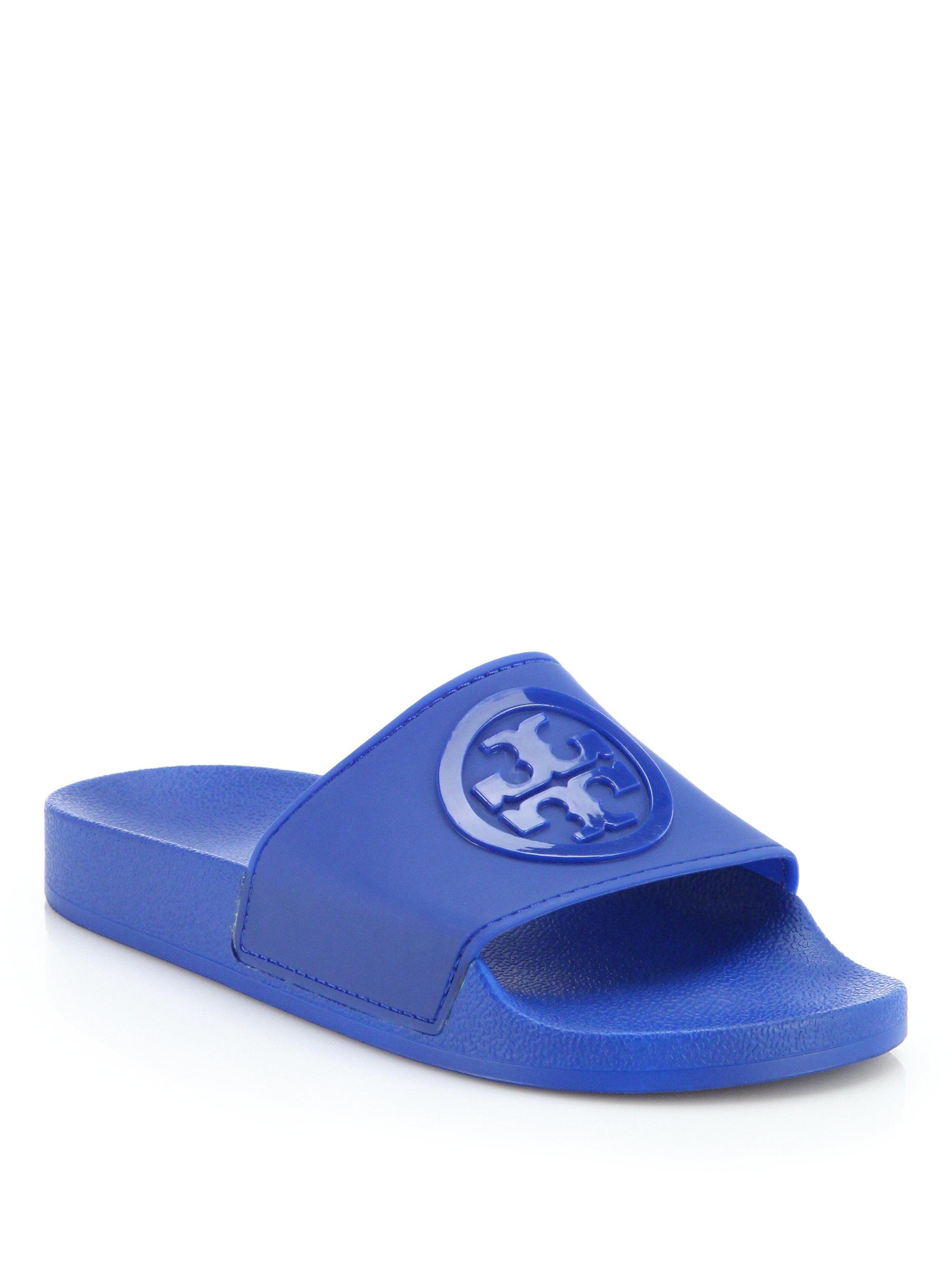 2bd4375f37b3ce Lyst - Tory Burch Jelly Anatomic Flat Slides in Blue