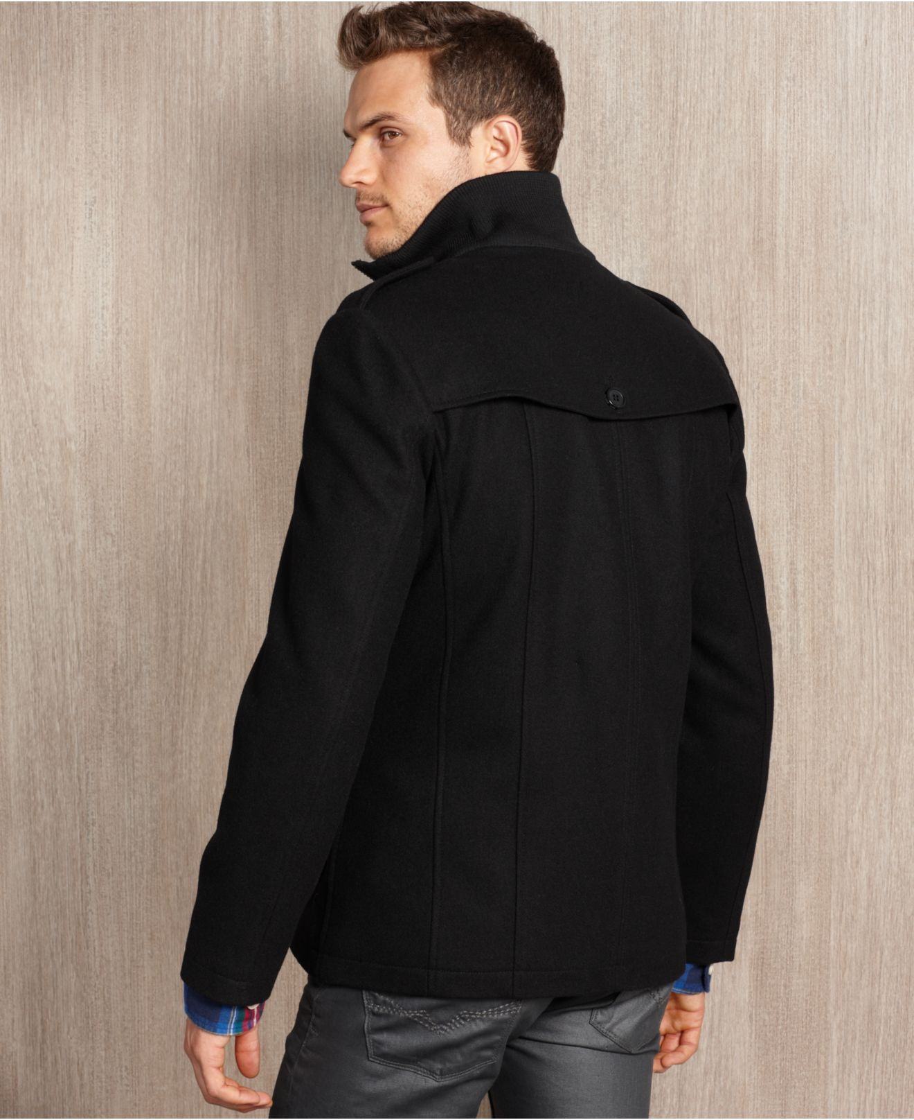 Guess Guess Coat Woolblend Double-breasted Modern Pea Coat in ...