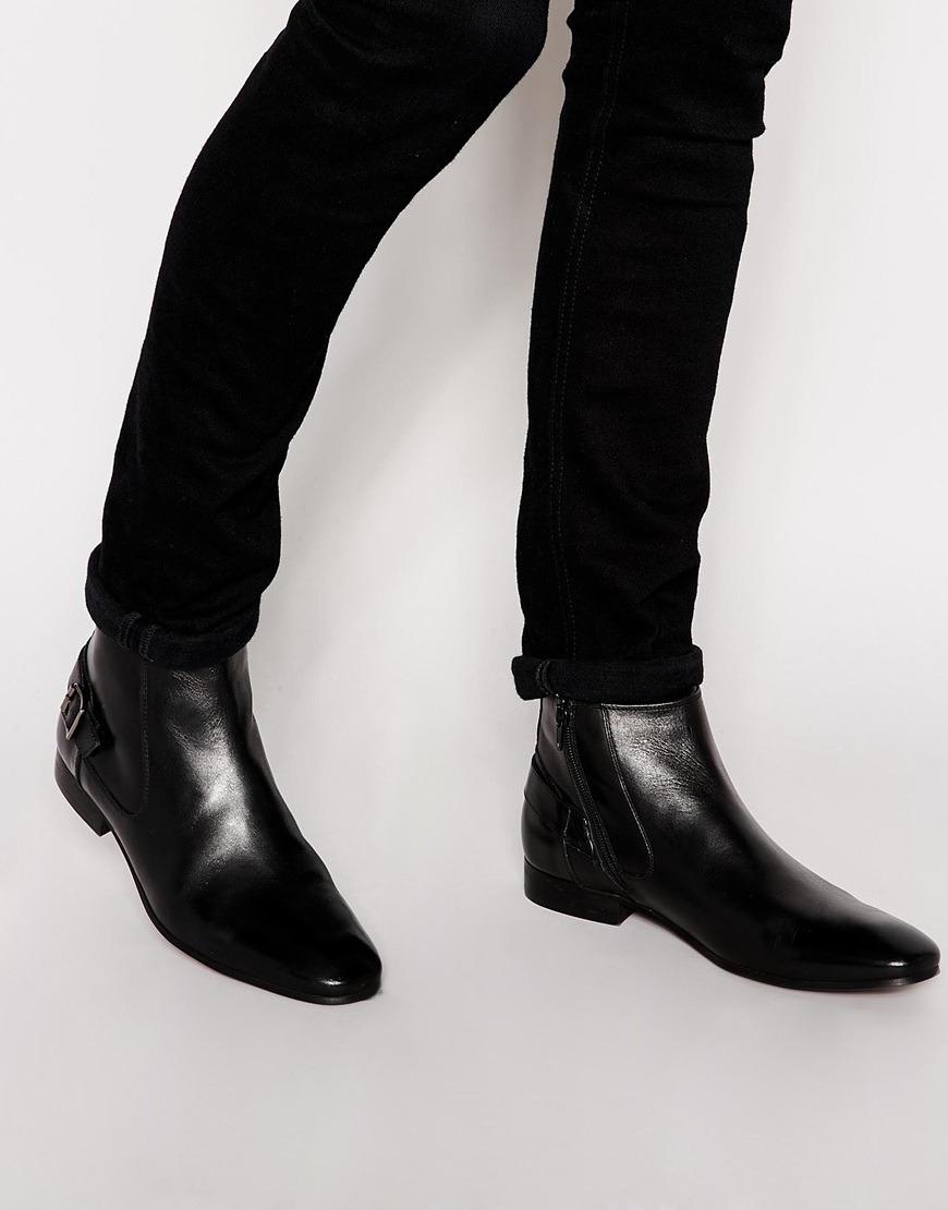 Lyst Asos Chelsea Boots In Black Leather With Buckle