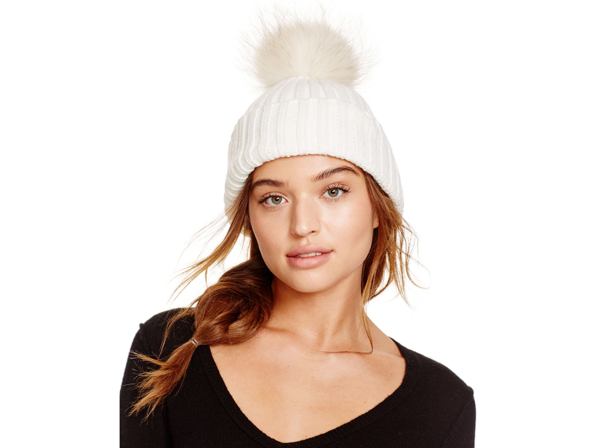 b2bc24d07354 Lyst - Meteo by Yves Salomon Beanie Hat With Fur Bobble in White
