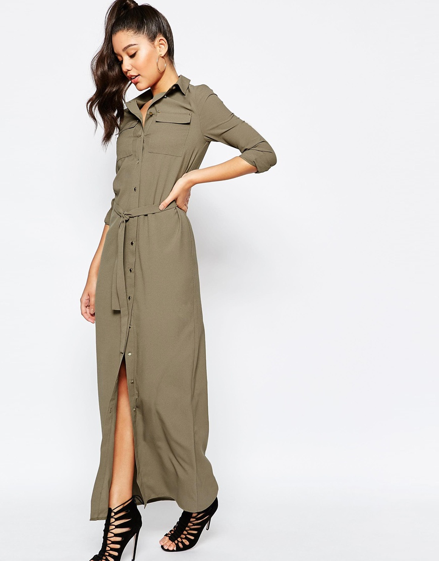 Missguided Belted Maxi Shirt Dress in Natural | Lyst