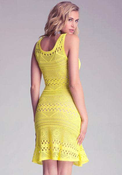 Bebe Crochet Fit Flare Dress In Yellow Lyst