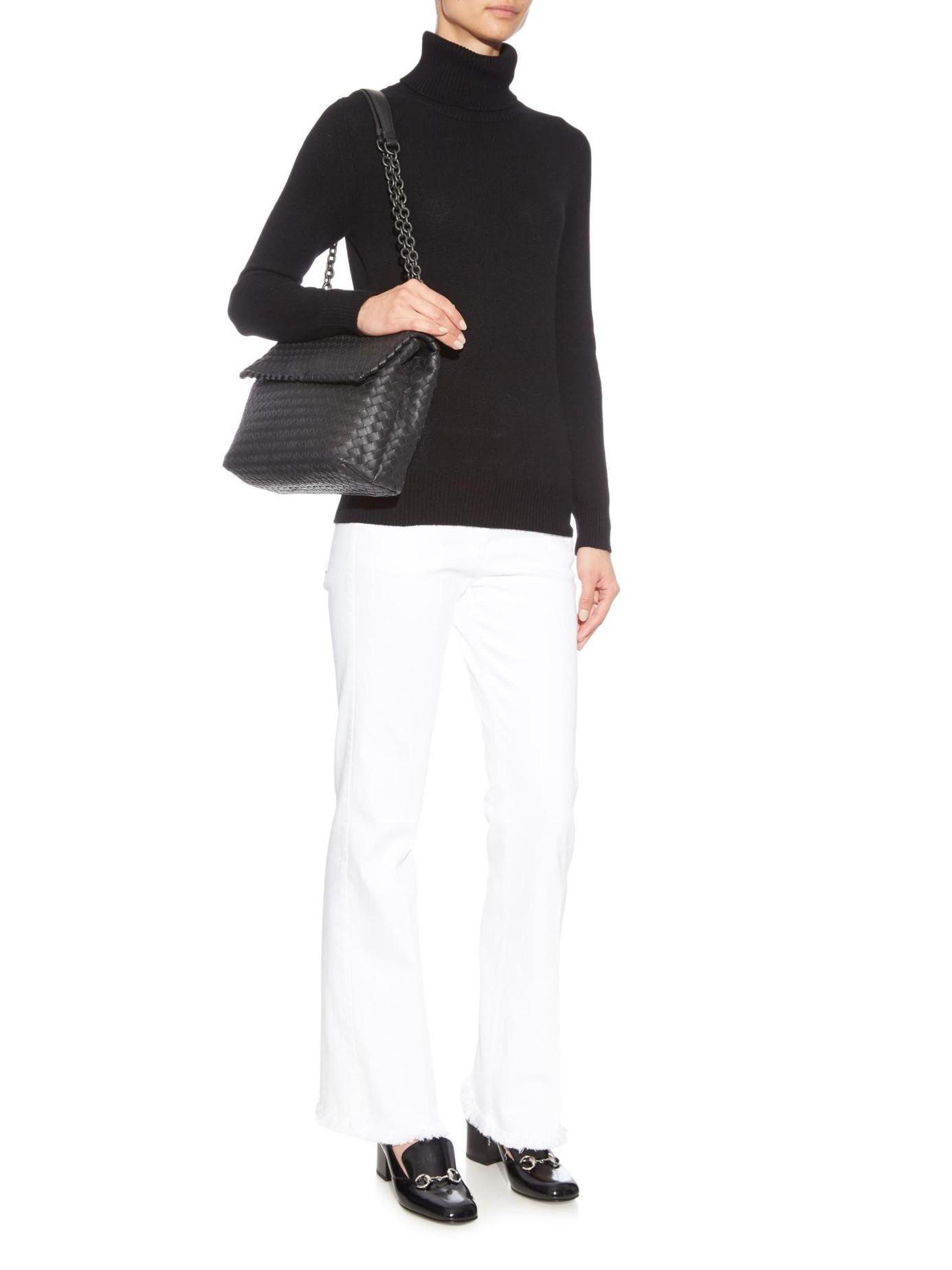 e84ea8bb867d Bottega Veneta Olympia Intrecciato Leather Shoulder Bag in Black - Lyst