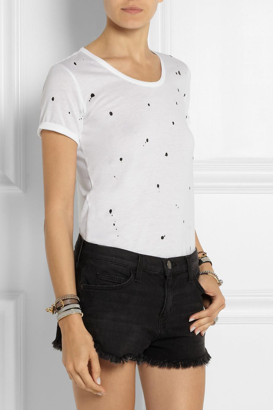 Rag bone splatter paint appliqu d jersey t shirt in for Rag and bone white t shirt