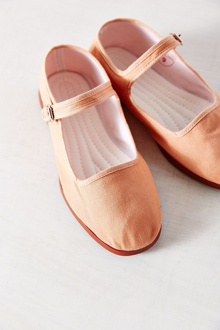 Urban Outfitters Cotton Mary Jane Flat In Peach Orange Lyst