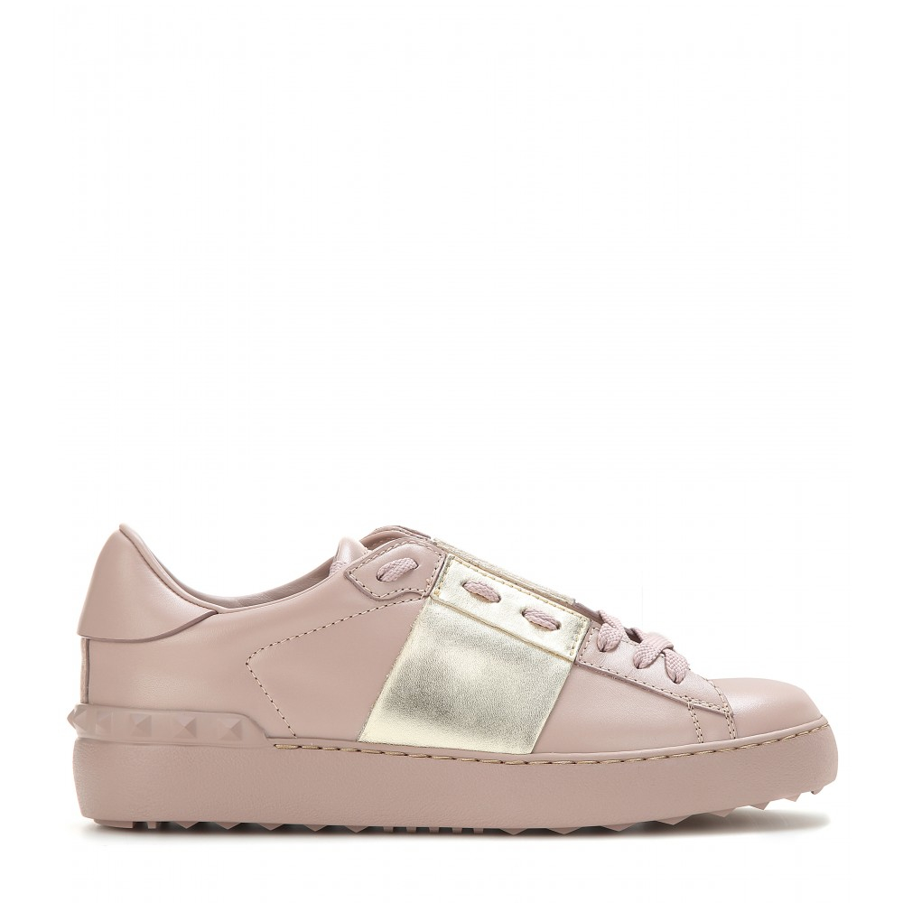 8428c2f9757d3 Lyst - Valentino Open Metallic Leather Sneakers in Natural
