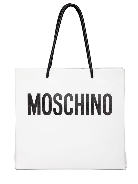 Moschino Moshino Shopping Leather Tote Bag Whiteblack