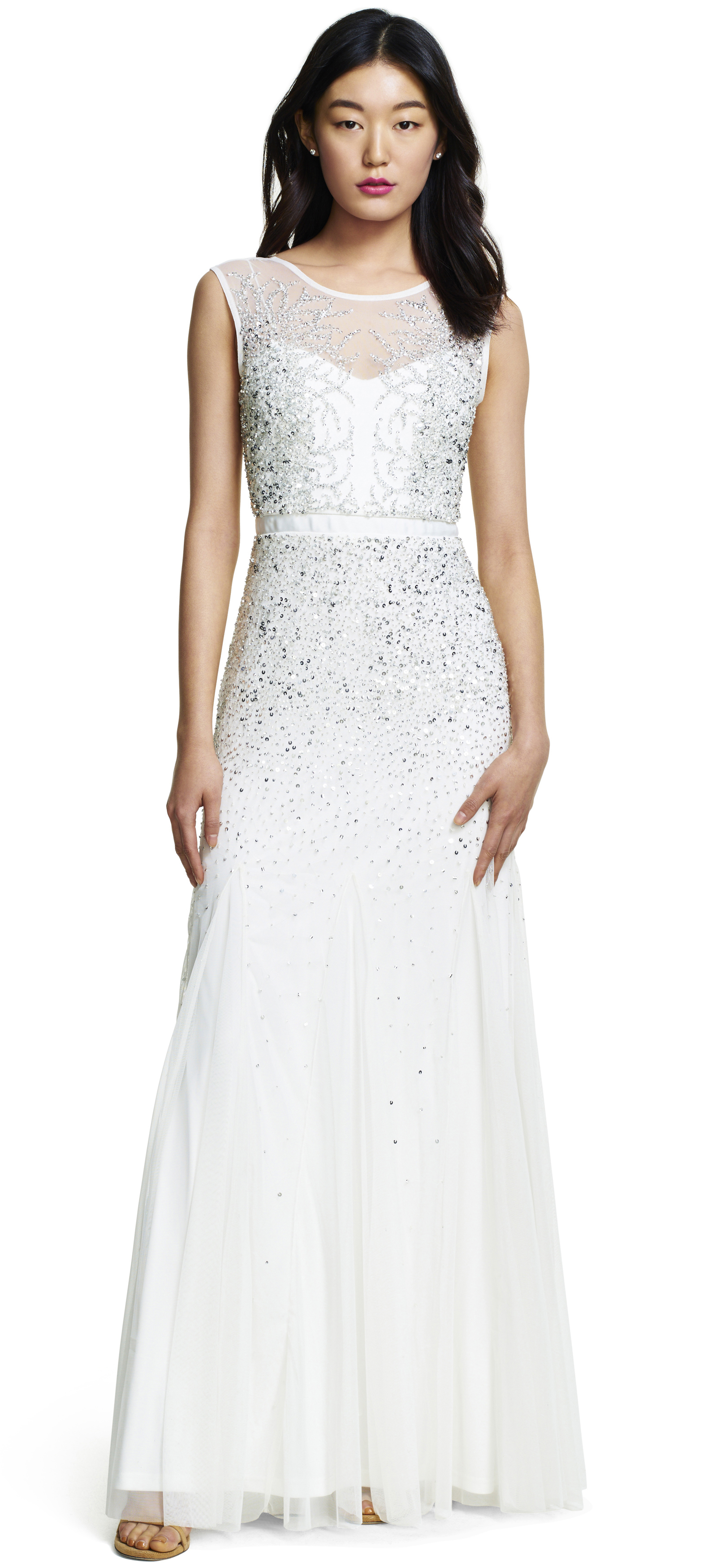 Adrianna papell long beaded gown with illusion neck in multicolor
