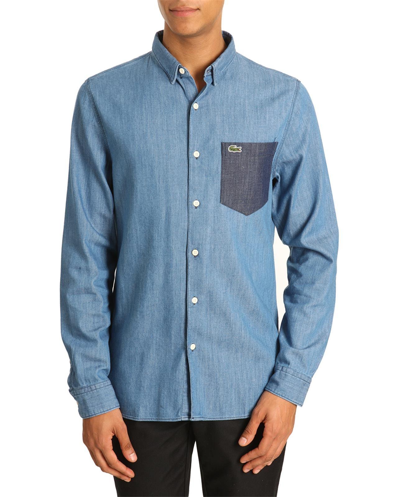 lacoste live denim shirt contrasted pocket in blue for