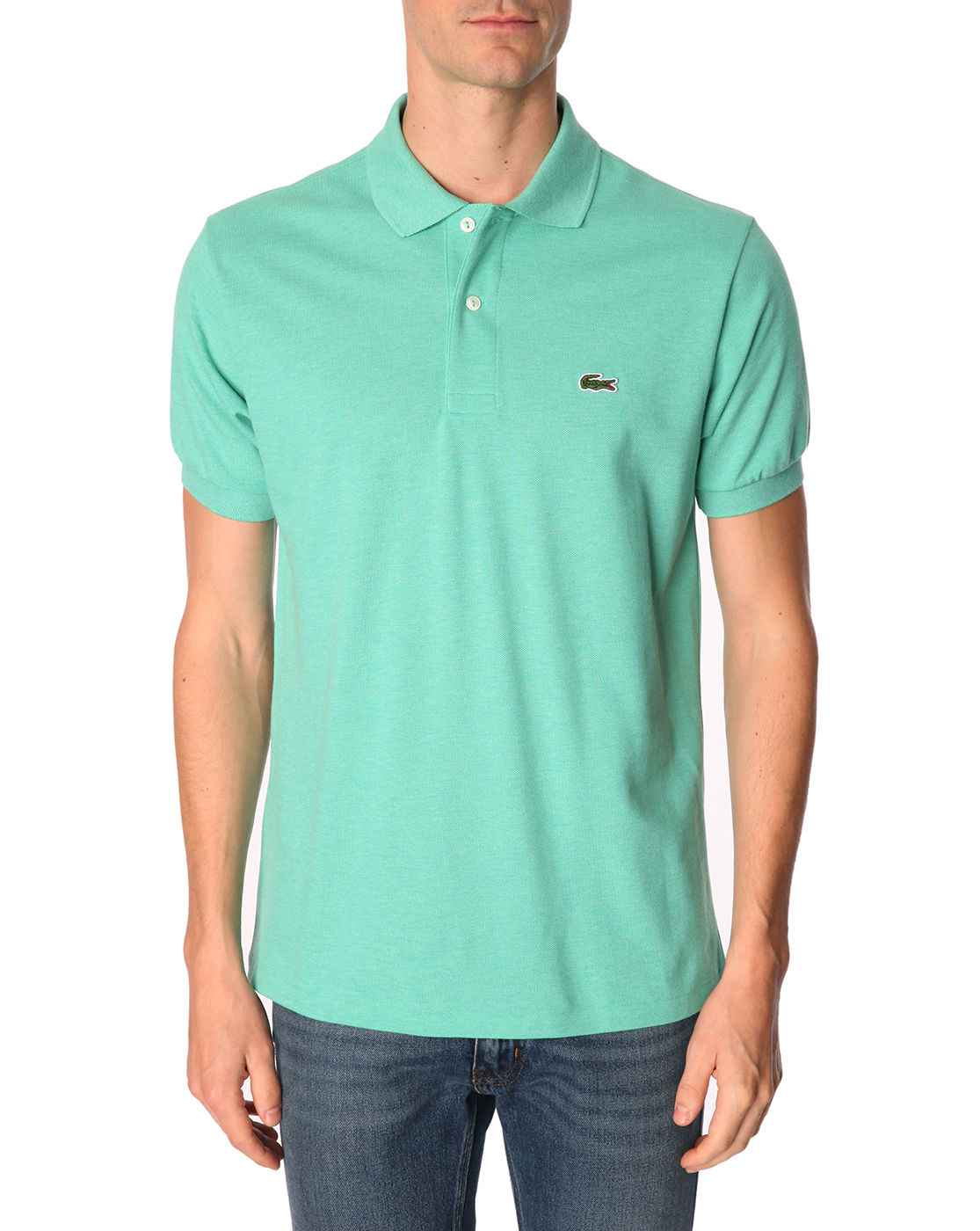 Lacoste l1212 short sleeve heather mint green polo in for Mint color polo shirt