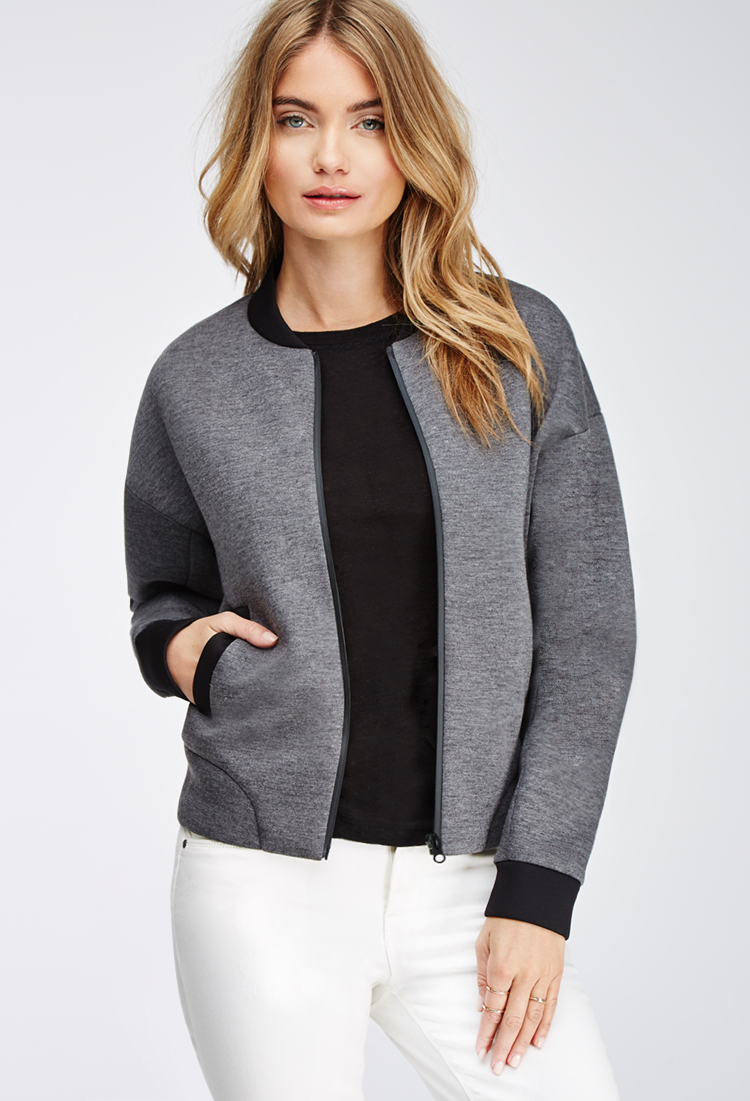 Forever 21 Contemporary Heathered Scuba Knit Bomber Jacket in Gray ...