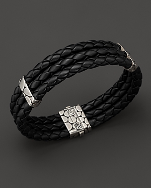 John Hardy Kali Black Woven Leather Triple-Row Bracelet Pnlk0a
