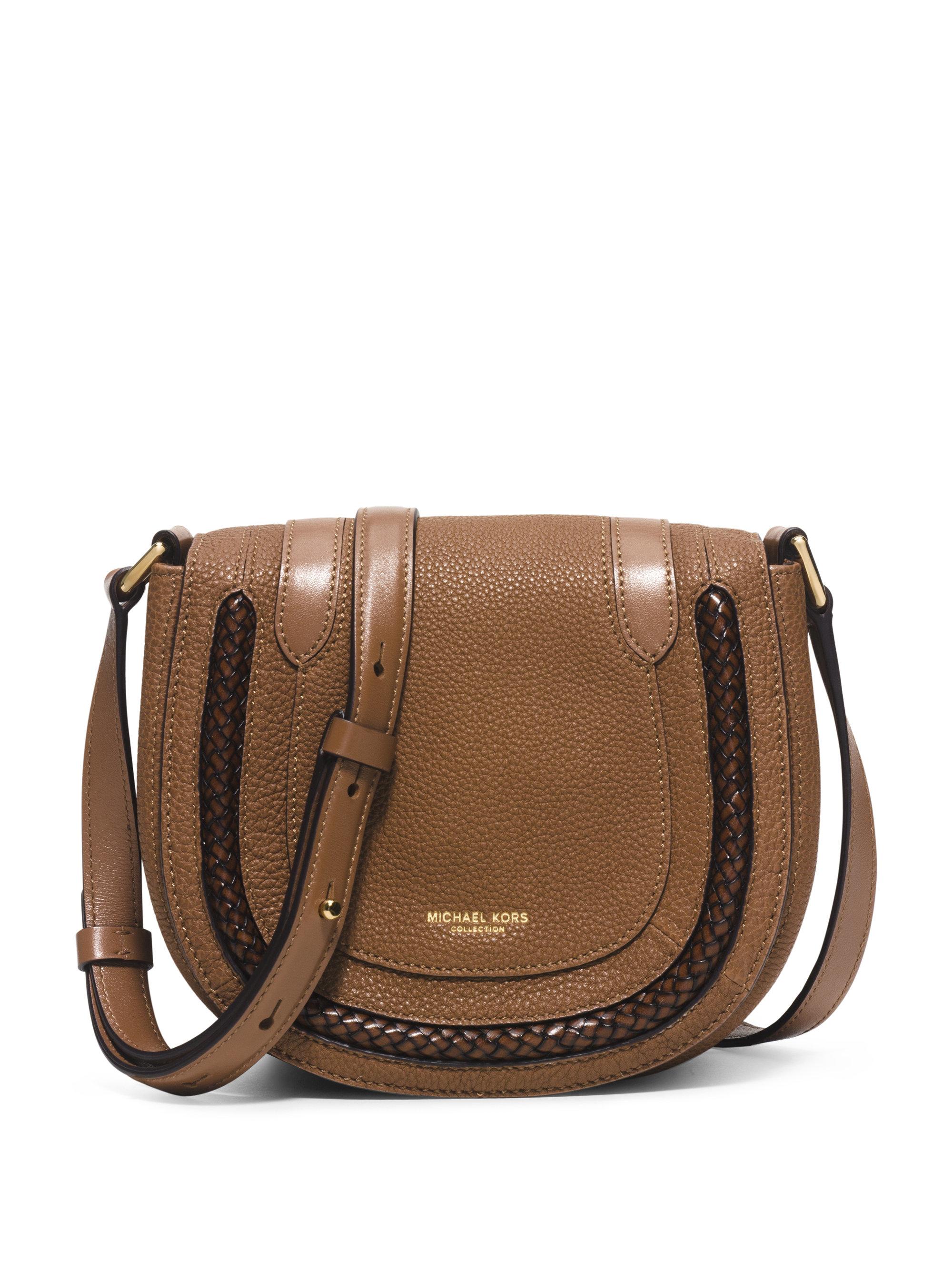 Michael Kors Skorpios Small Leather Crossbody Bag In Brown
