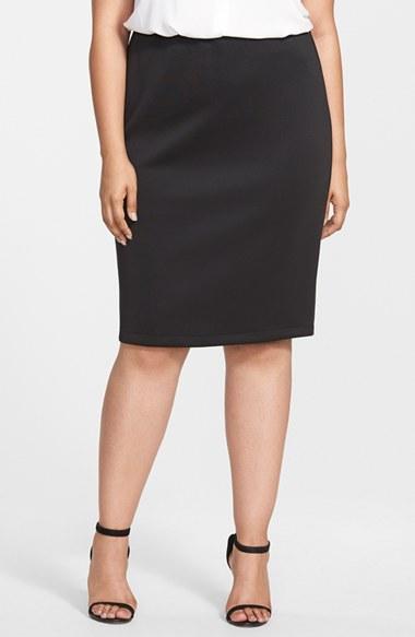 vince camuto back zip pencil skirt in black rich black