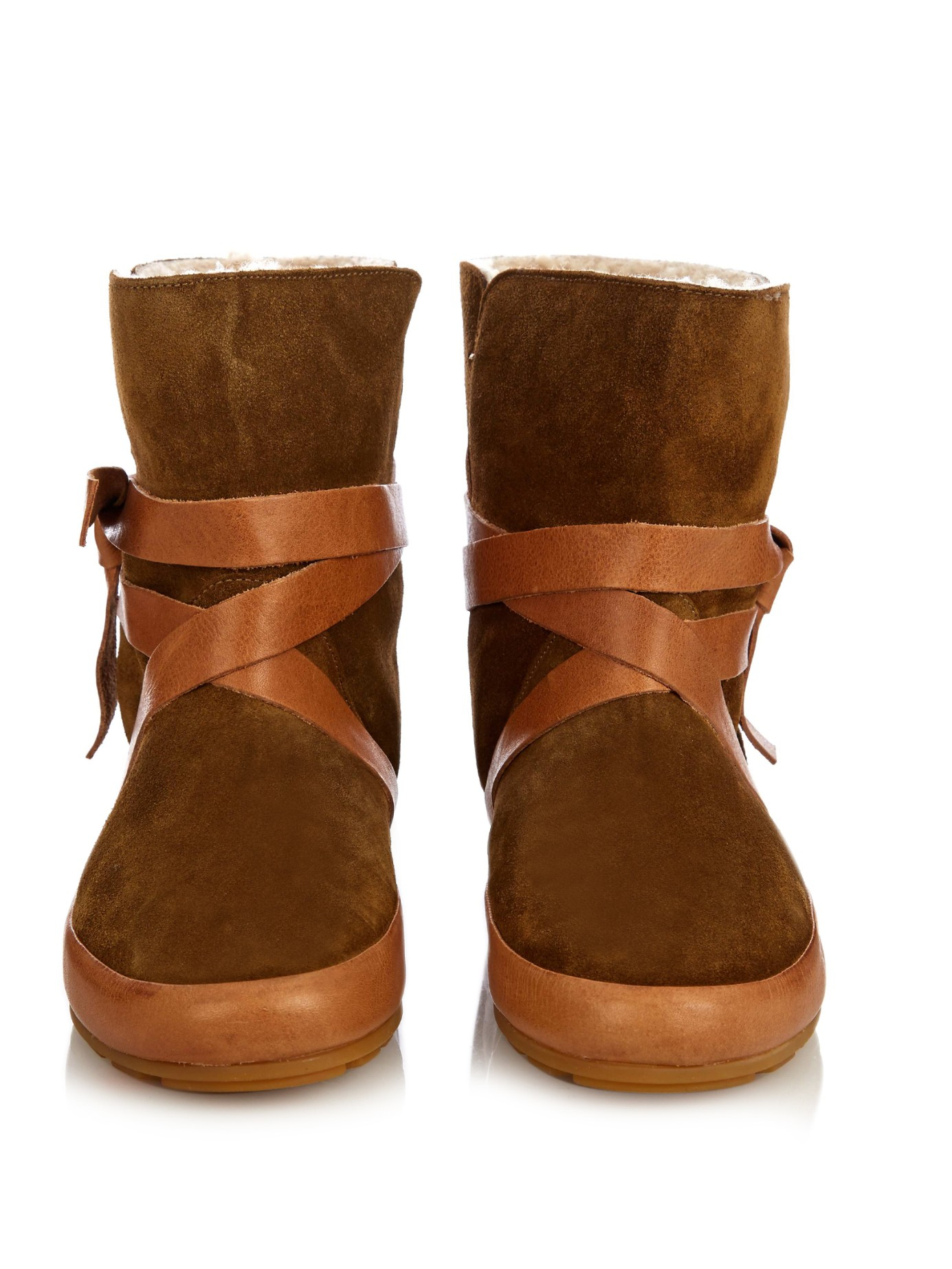marant nygel suede shearling boots in brown lyst