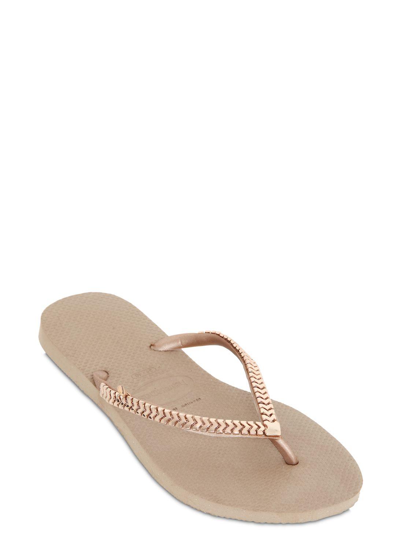 243731306ccaf0 Lyst - Havaianas Slim Chain Rubber Flip Flops in Metallic