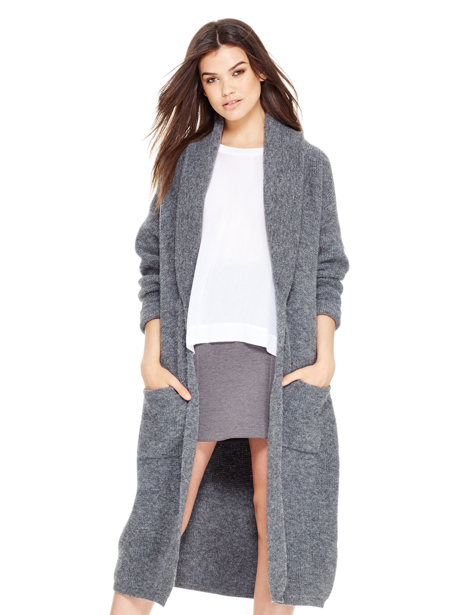 2f6066e184 Lyst - DKNY Pure Open Front Cardigan in Gray