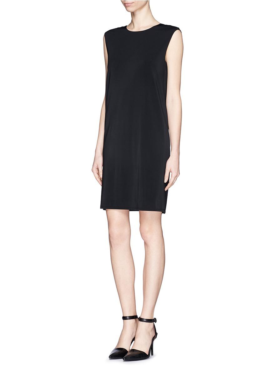 helmut lang single diagonal back pleat shift dress in