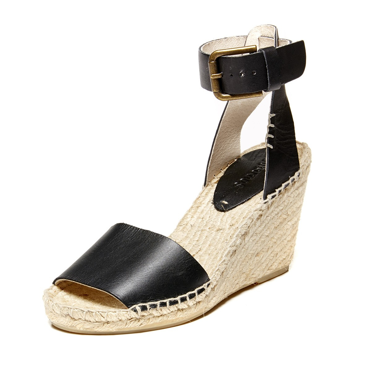 4caccf0d44a Soludos Open Toe Leather Wedge Sandal in Black - Lyst