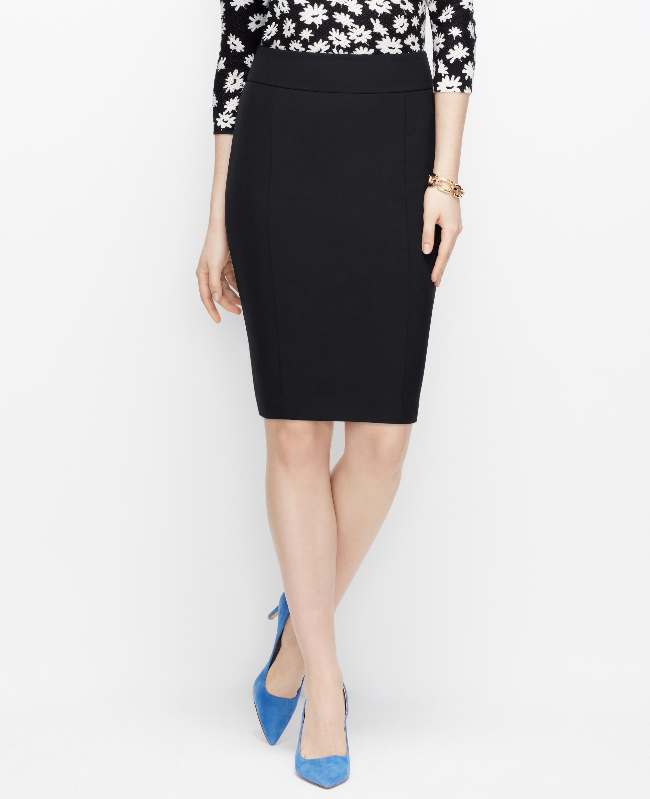 56eeb657d657 Ann Taylor Curvy Sleek Stretch Pencil Skirt in Black - Lyst