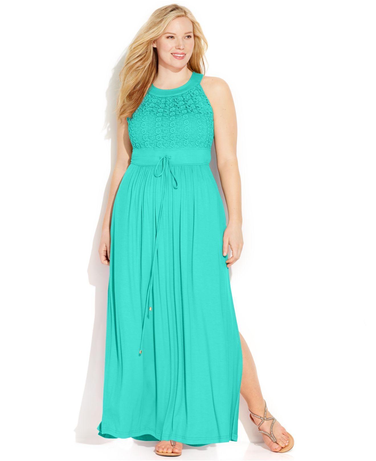 Plus Size Lace Halter Maxi Dress