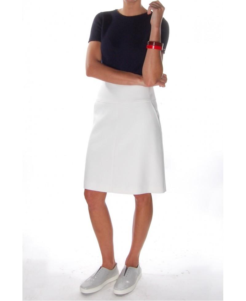 Lyst - Jil Sander Navy White Short A-line Skirt in White