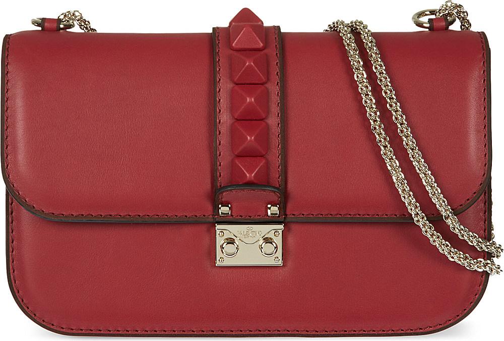 valentino stud lock medium shoulder bag scarlet in red scarlet lyst. Black Bedroom Furniture Sets. Home Design Ideas
