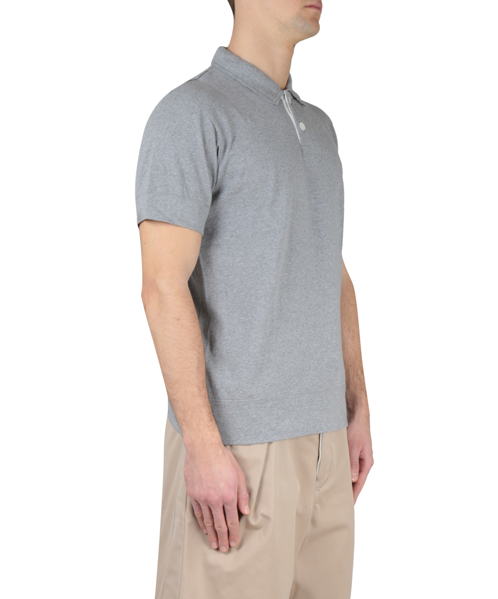 Lyst sacai grey cotton polo shirt with contrasting for Polo shirts without buttons