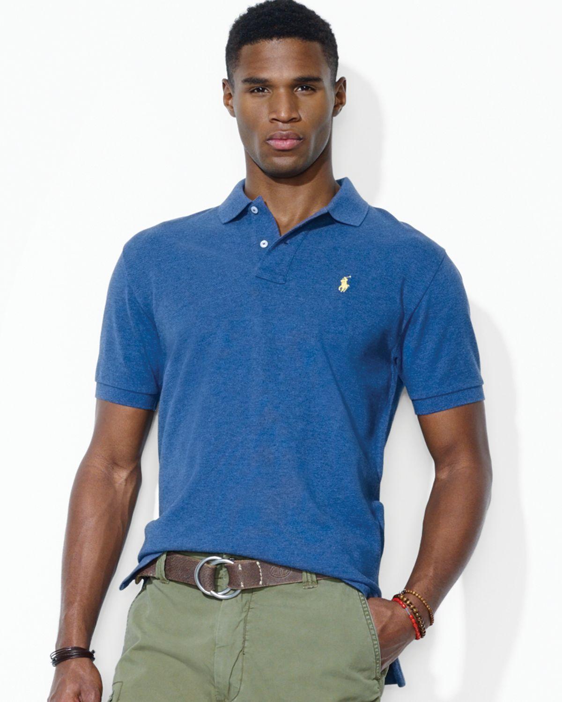 Fit Ralph For Shirt Polo Men Blue Lauren Mesh Classic 45LAR3j