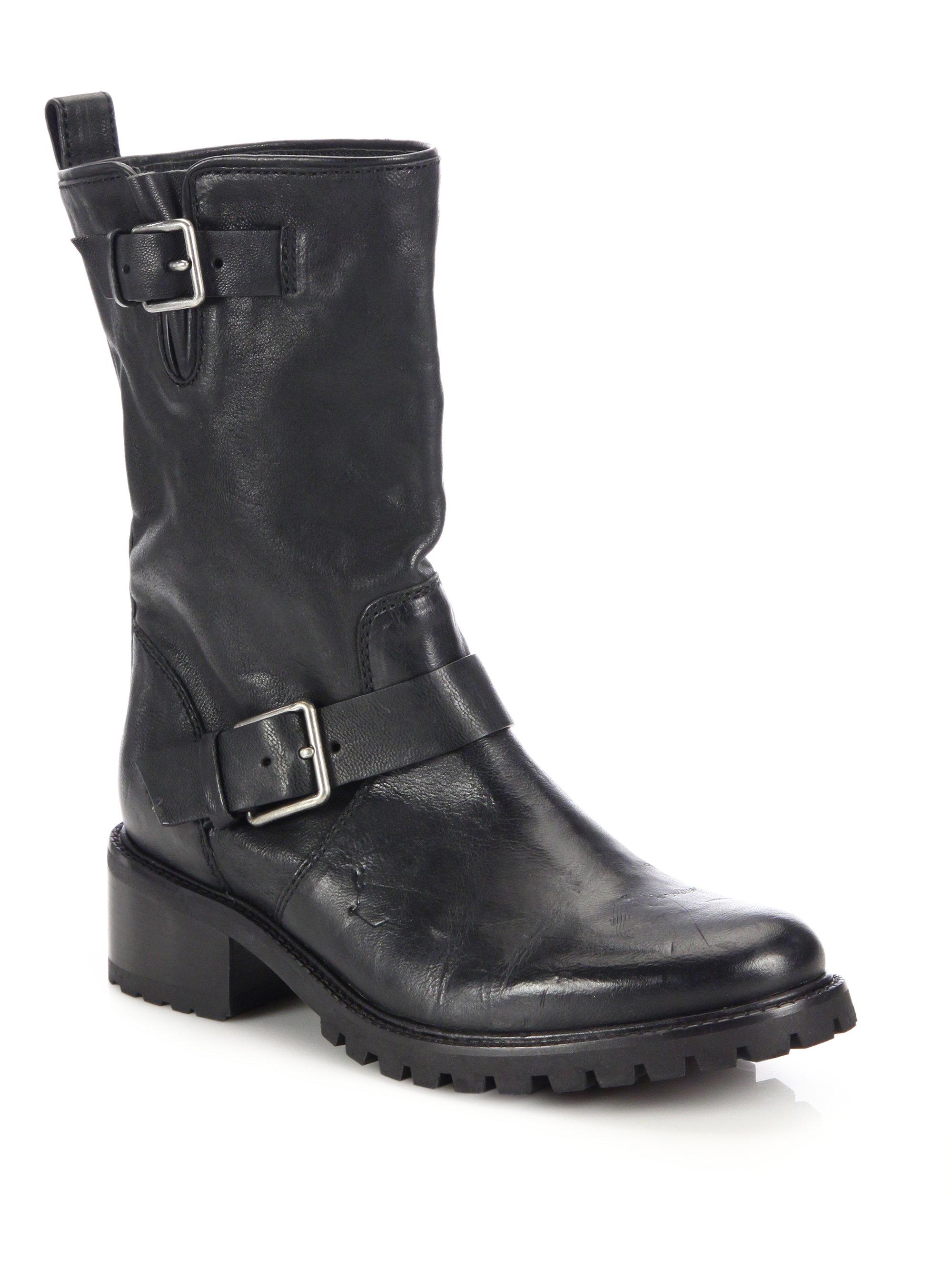 Lyst Cole Haan Hemlock Leather Motorcycle Boots In Black