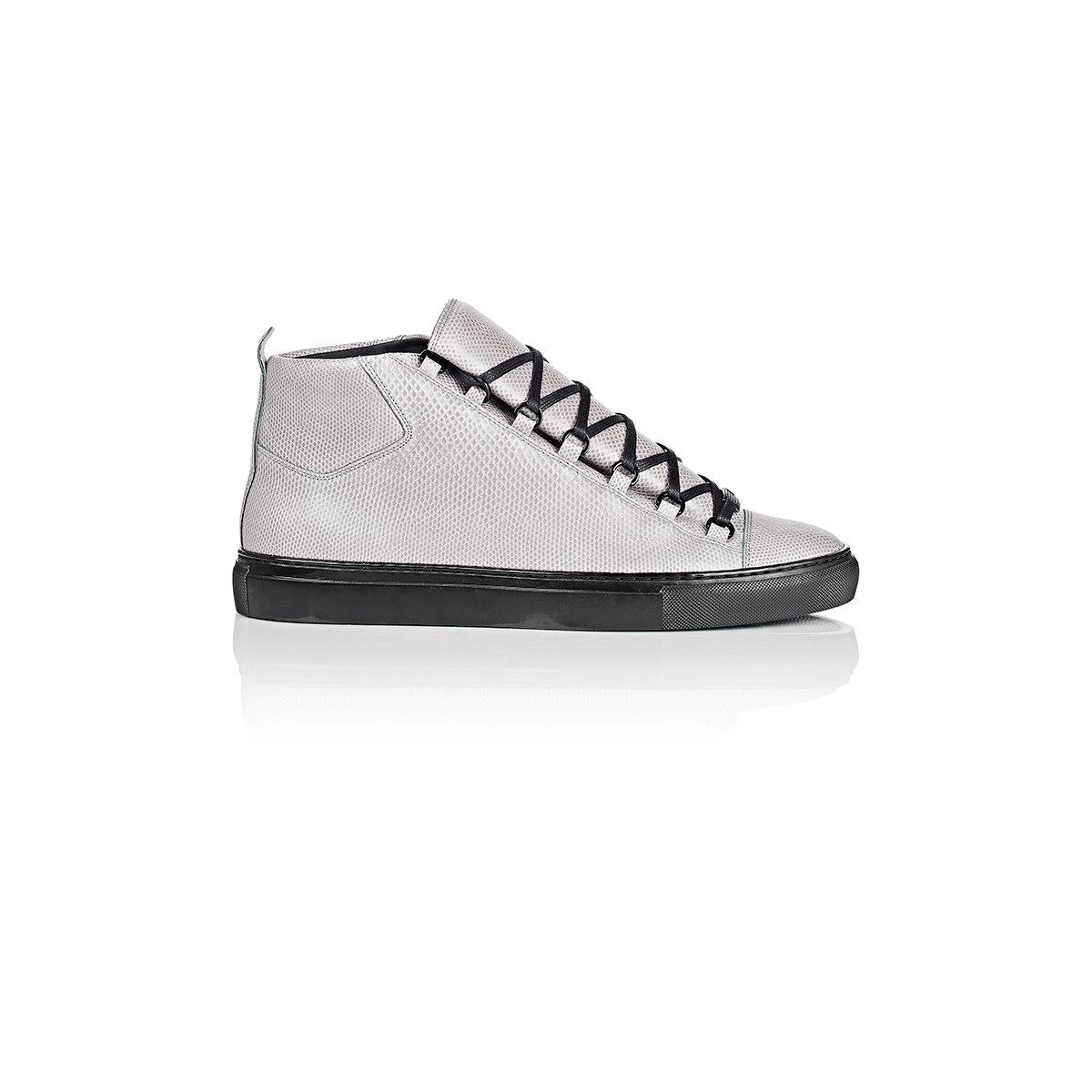 8a67621d0e0c1 Lyst - Balenciaga Snakeskin Arena High-top Sneakers in Gray for Men