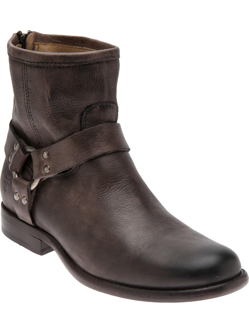 Frye Phillip Harness Short Boot In Grey Brown Lyst