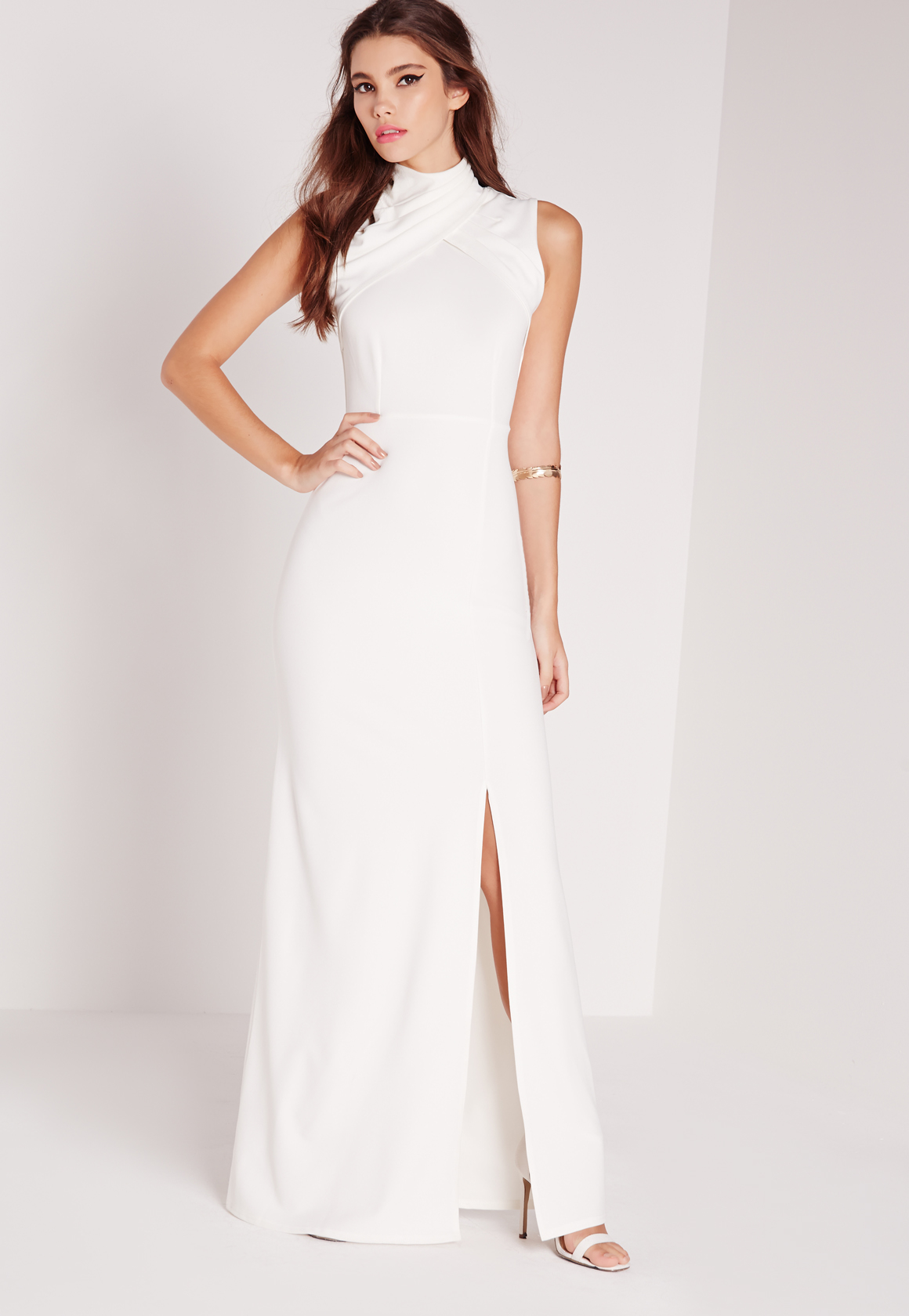 96a3f596a96 Long Sleeve Open Back Maxi Dress White Missguided - raveitsafe