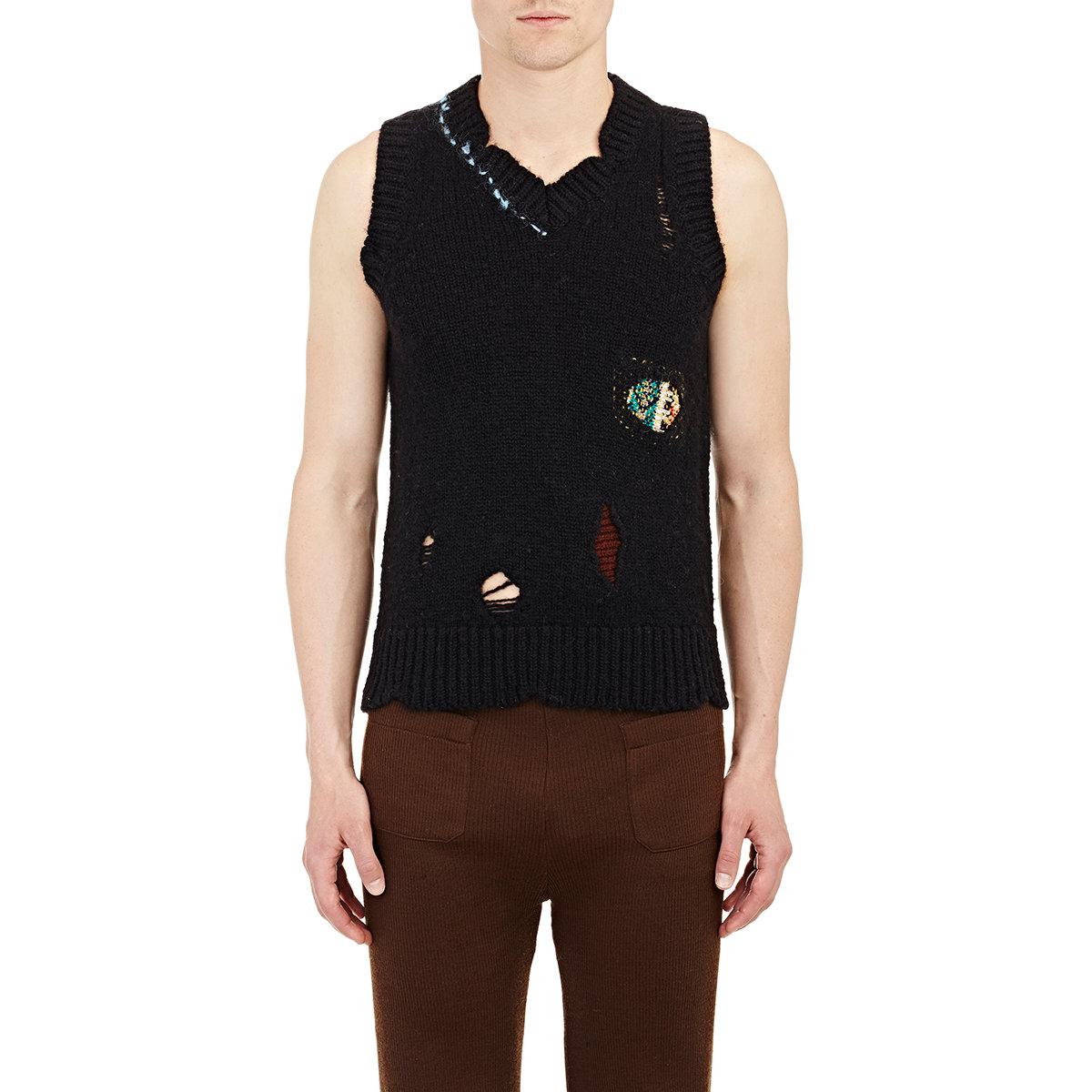 Raf simons Distressed Sweater Vest in Black for Men | Lyst