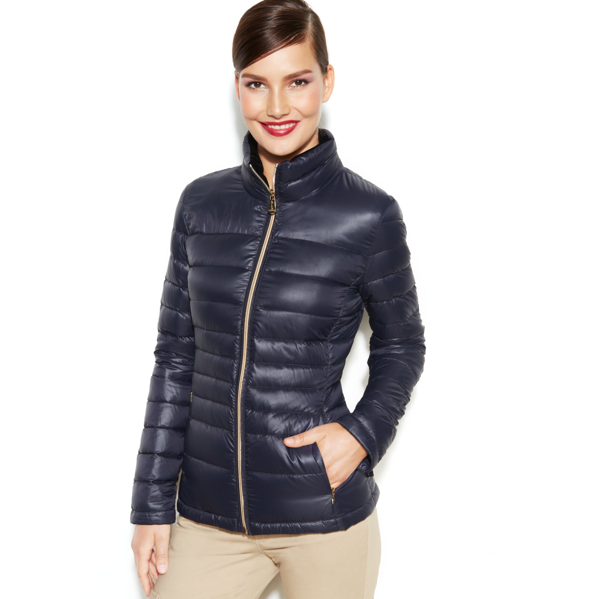 Calvin Klein Packable Quilted Down Puffer Coat In Blue