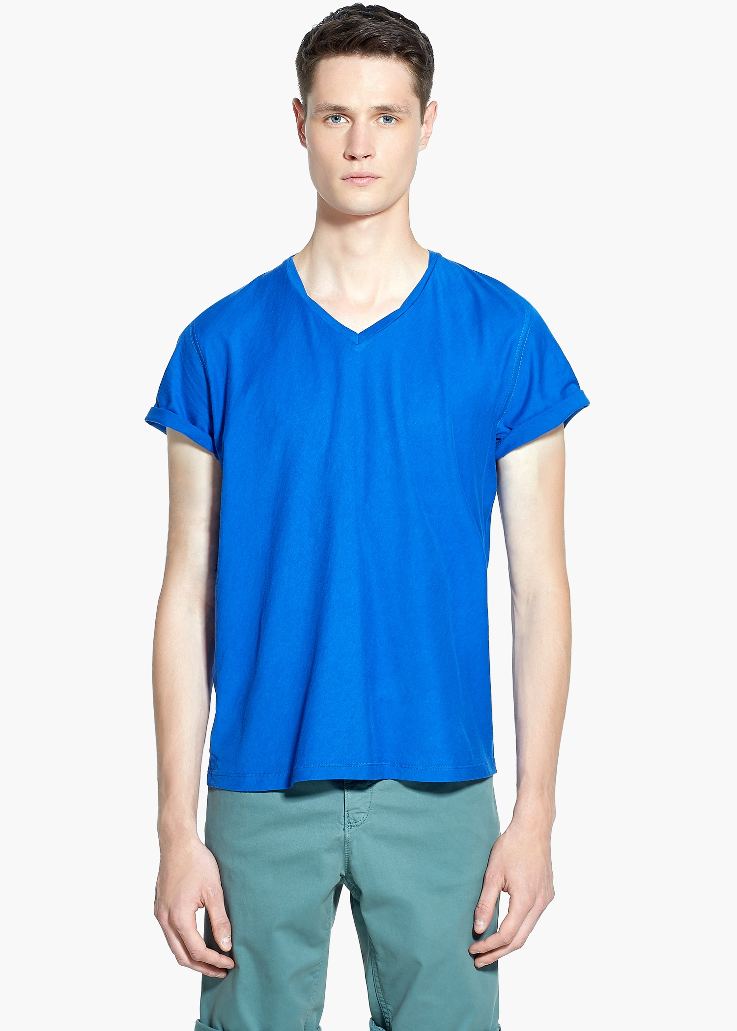Lyst mango soft egyptian cotton t shirt in blue for men for Mens egyptian cotton dress shirts