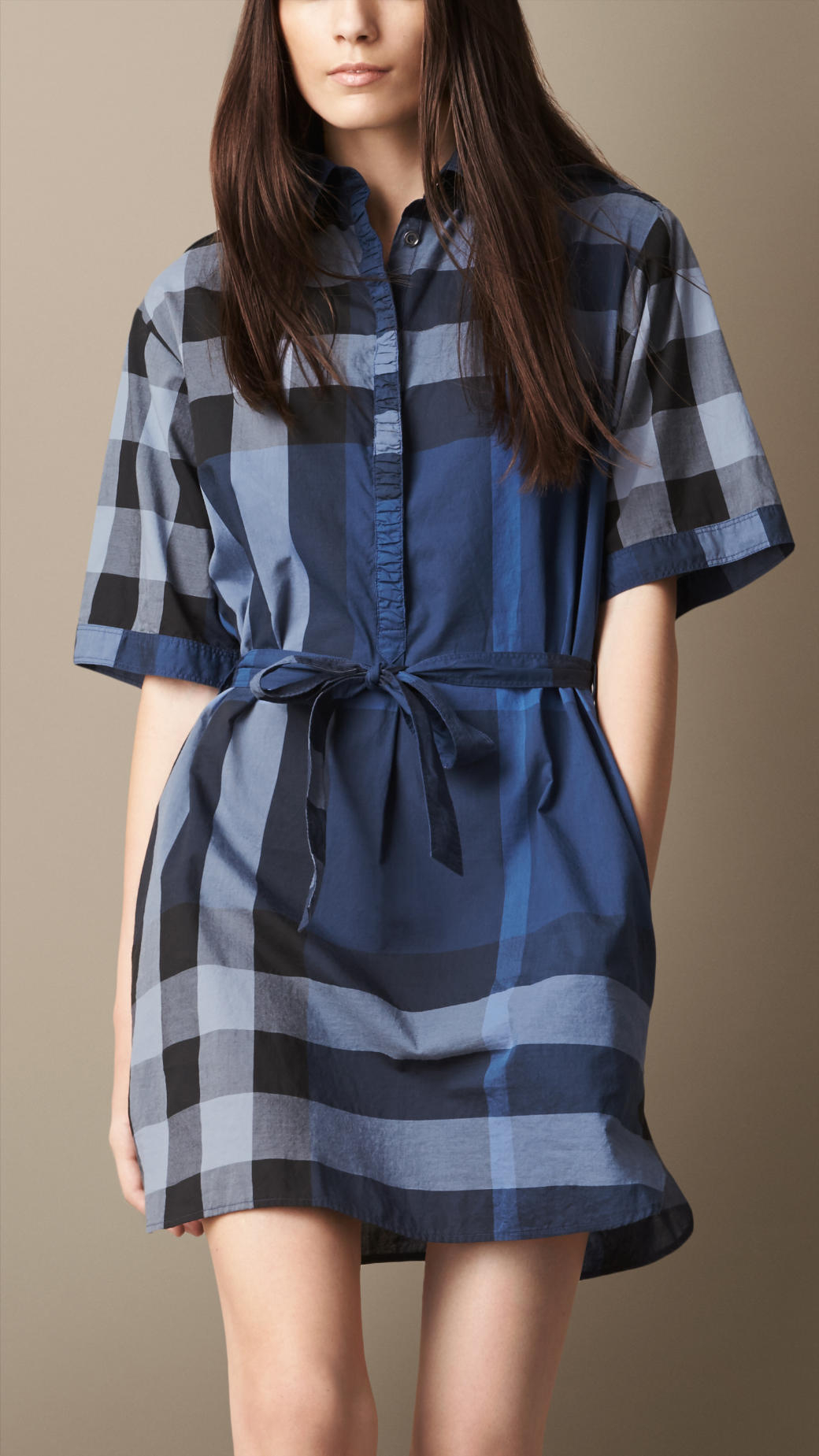 Lyst burberry tie waist check shirt dress in blue for Blue check dress shirt