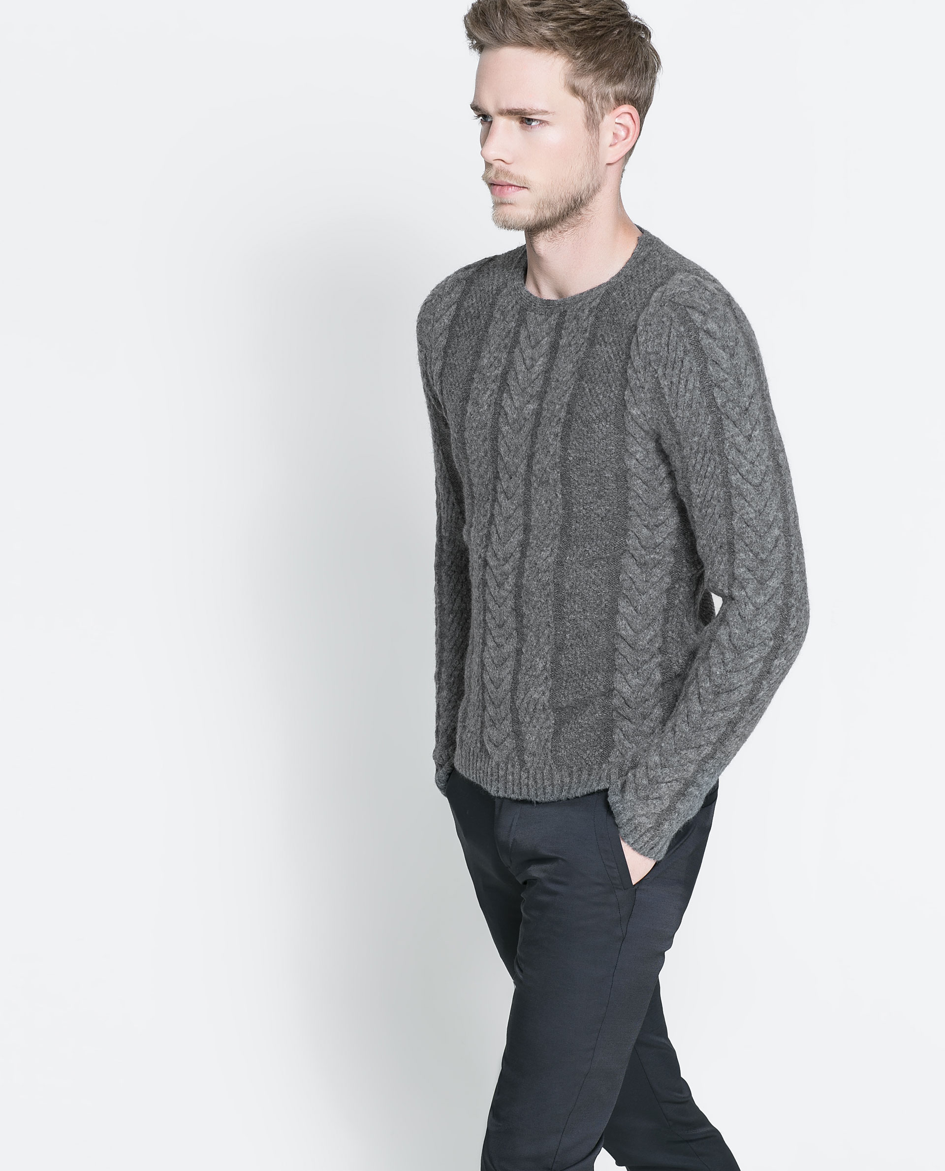 Zara Cable Knit Sweater In Gray For Men Lyst