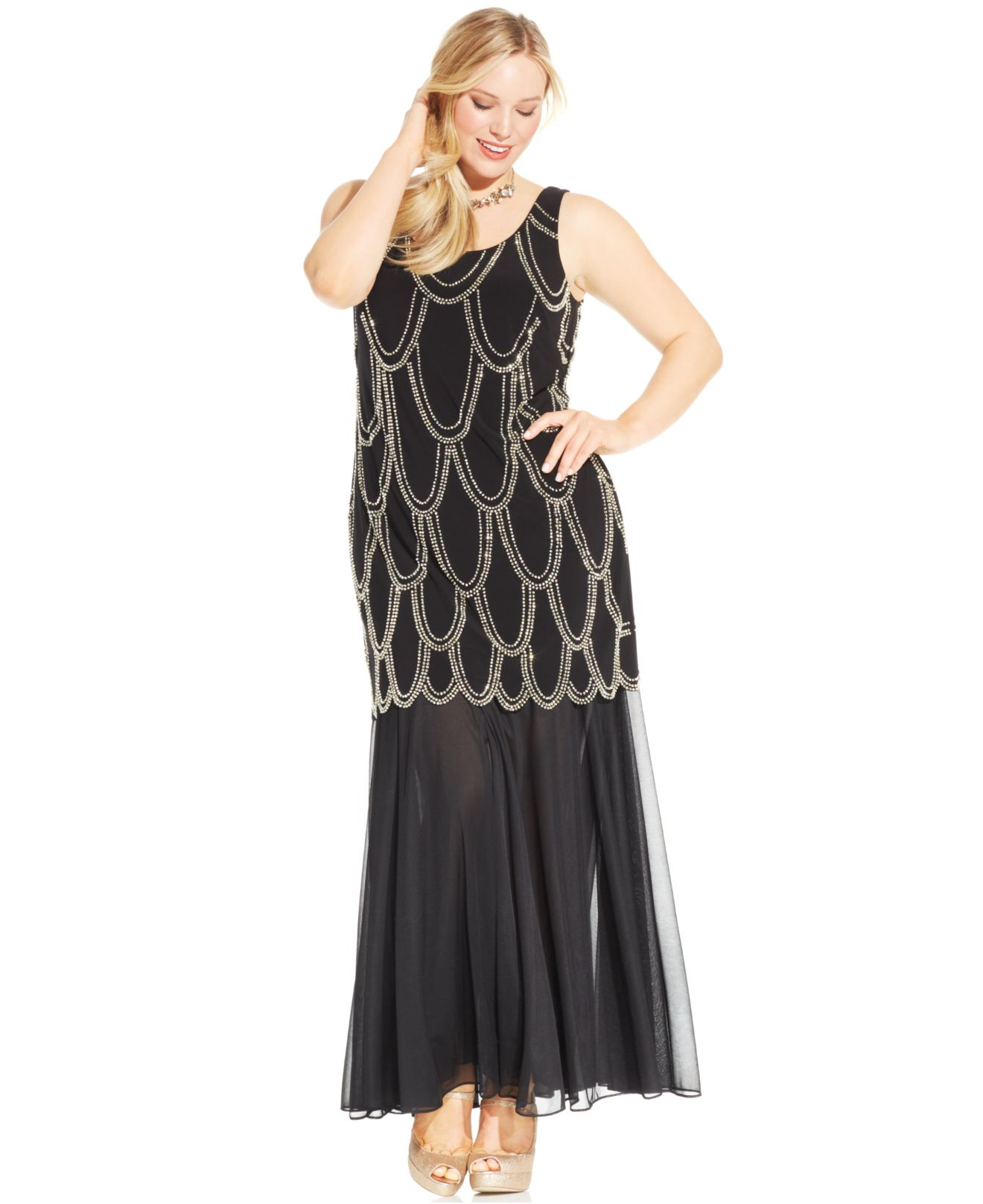 Women\'s Black Plus Size Beaded Drop-waist Dress