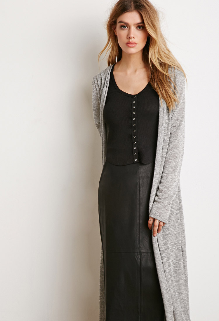 Forever 21 Hooded Maxi Cardigan In Gray Lyst