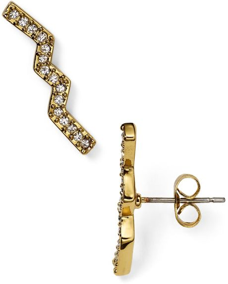 Zig Zag Jewellery: Rebecca Minkoff Geometric Zig Zag Stud Earrings In