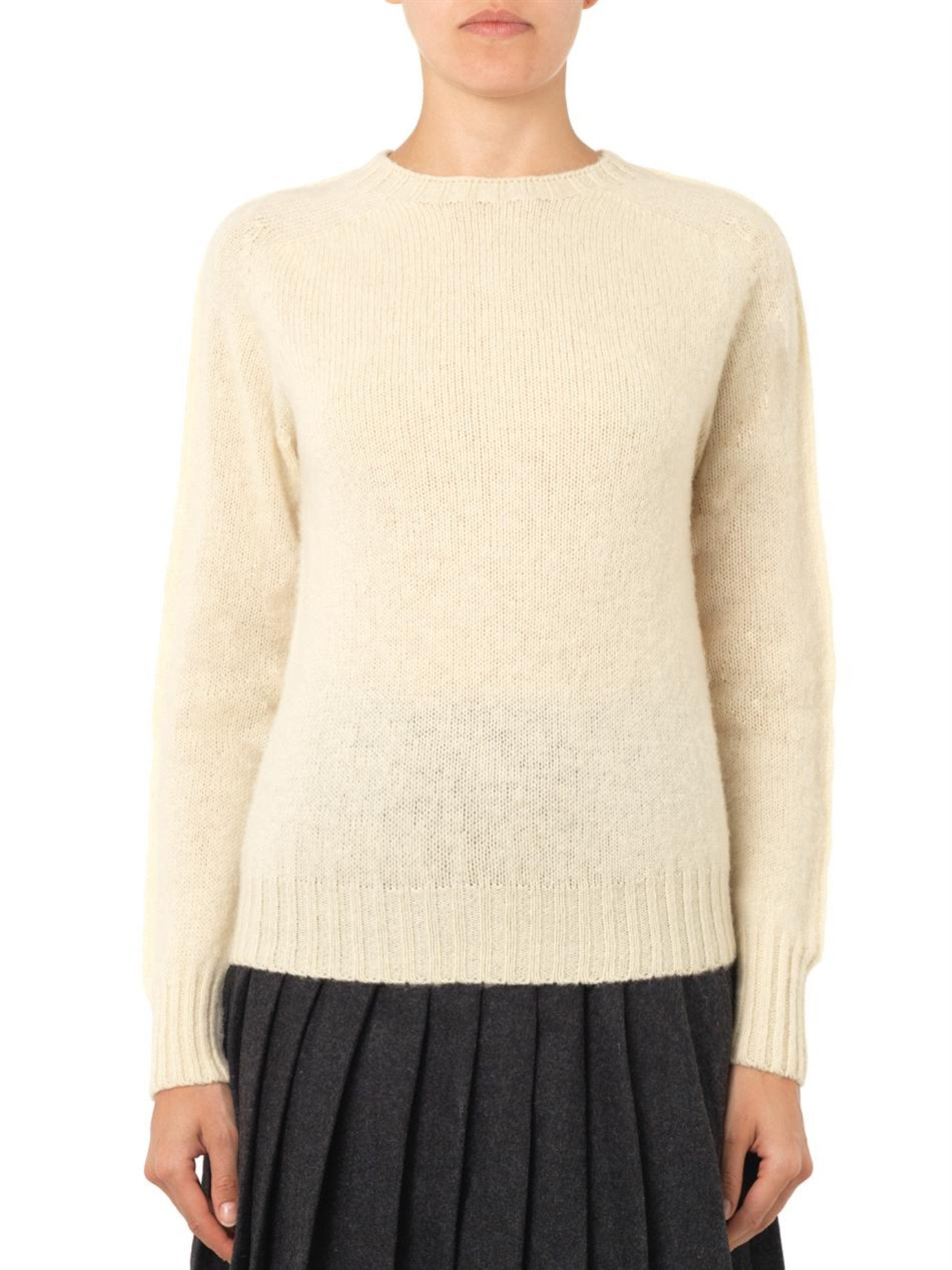 Ymc Wool-knit Sweater in Natural | Lyst